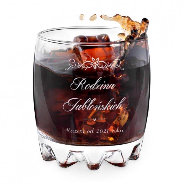 Szklanka grawerowana sylwana z dedykacją dla pary rodzina