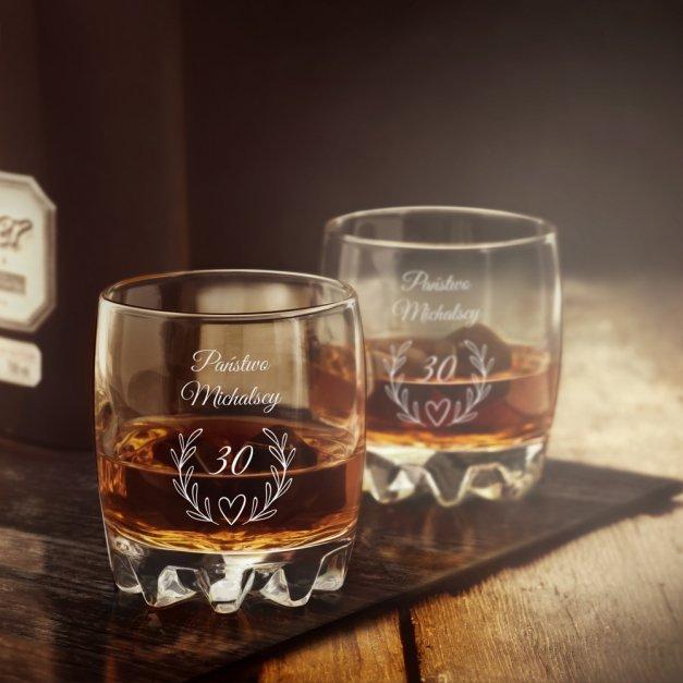Szklanka grawerowana sylwana z dedykacją dla pary na rocznicę