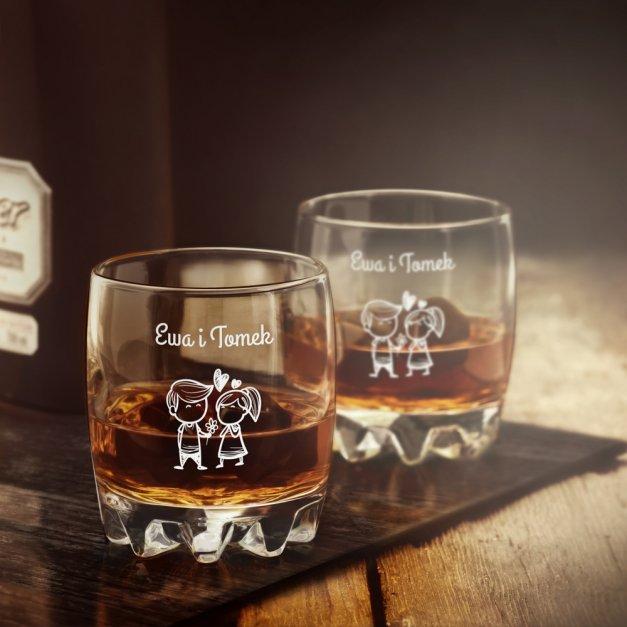 Szklanka grawerowana sylwana z dedykacją dla pary ślub rocznica walentynki