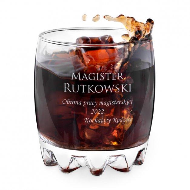 Szklanka grawerowana sylwana z dedykacją dla magistra