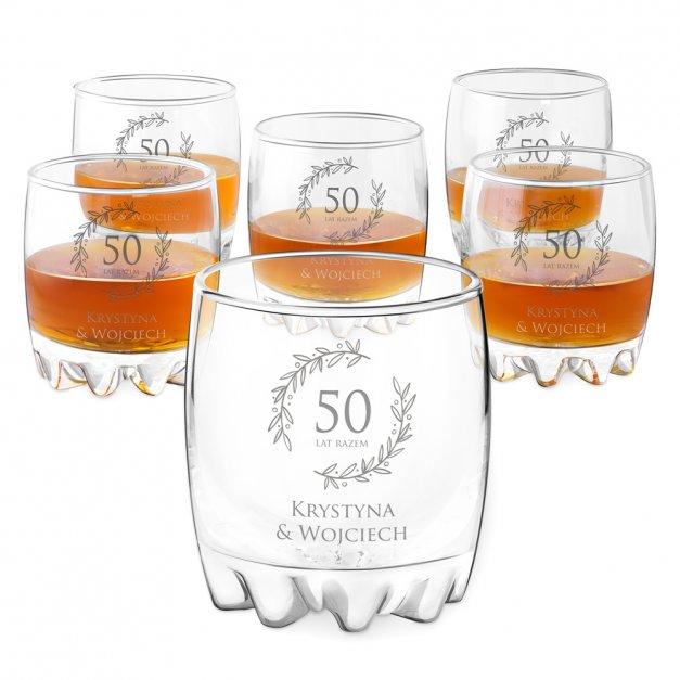 Szklanki grawerowane sylwana x6 z dedykacją dla pary na rocznicę ślubu