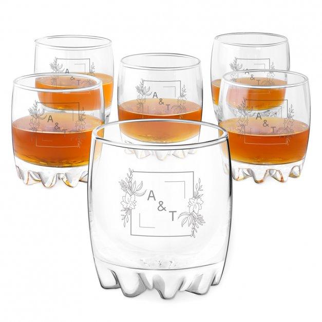 Szklanki grawerowane sylwana x6 inicjały dla pary na ślub rocznicę