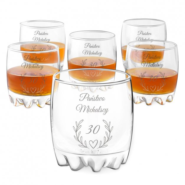 Szklanki grawerowane sylwana x6 z dedykacją dla pary na rocznicę