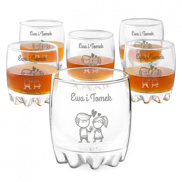 Szklanki grawerowane sylwana x6 dla pary walentynki ślub rocznica