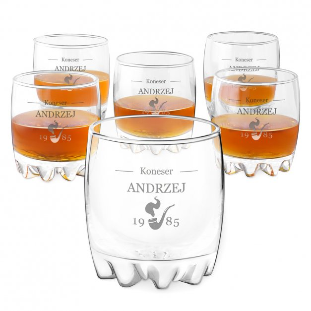 Szklanki grawerowane sylwana x6 fajka dla konesera whisky