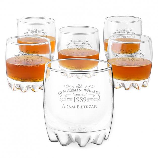 Szklanki grawerowane sylwana x6 z dedykacją dla gentlemana na urodziny