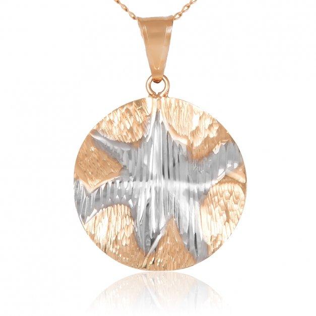 Złoty Komplet 333 Łańcuszek z Zawieszką Etno Koło Grawer