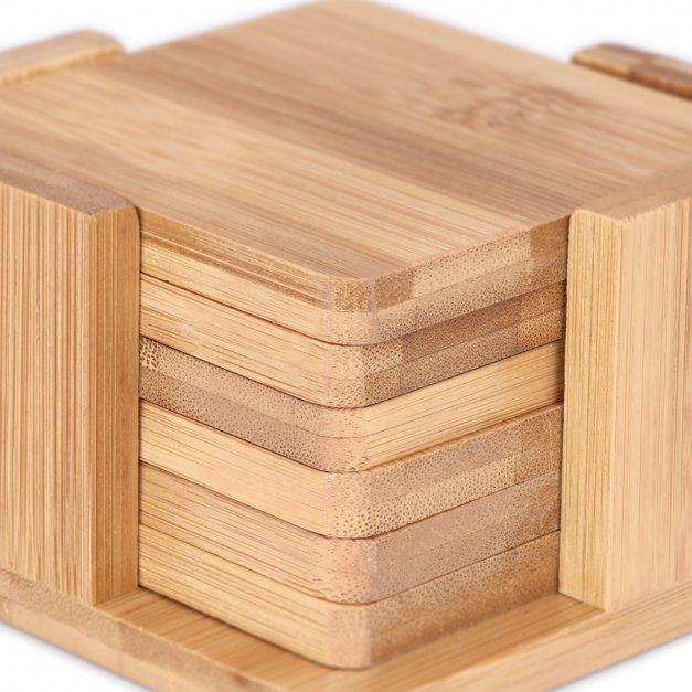 Podkładki bambusowe pod piwo kawę zestaw x6 grawer kocia mama dla kociary