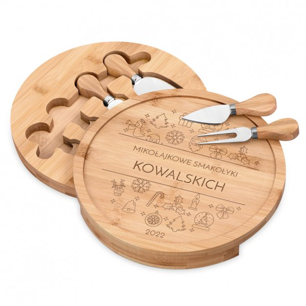Deska drewniana do sera zestaw akcesoria grawer na mikołajki