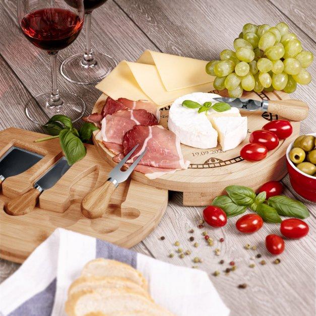 Deska drewniana do sera zestaw akcesoria grawer dla pary na ślub rocznicę