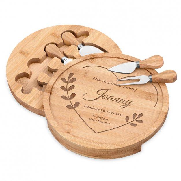 Deska drewniana do sera zestaw akcesoria grawer dla mamy