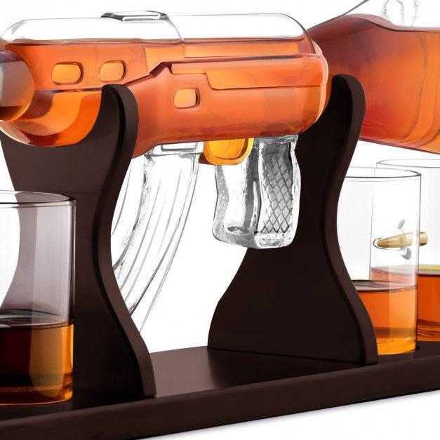 Karafka karabin 4 szklanki zestaw grawer procenty dla myśliwego