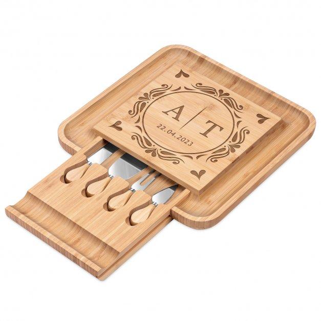 Deska drewniana do sera kwadratowa grawer akcesoria dla pary na ślub