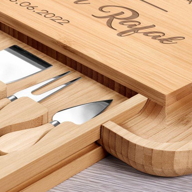 Deska drewniana do sera kwadratowa grawer akcesoria na 5 rocznicę ślubu