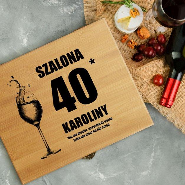 Akcesoria do wina dedykacja zestaw dla niej na 40 urodziny