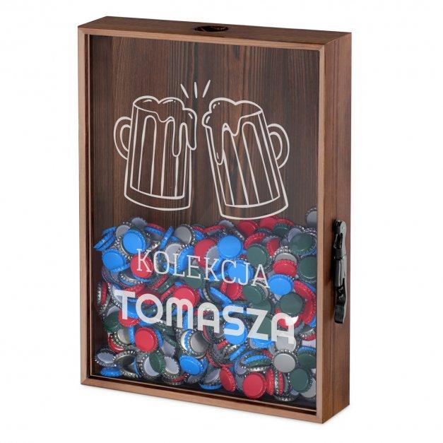 Kapslołap z nadrukiem skrzynka na kapsle dla piwosza