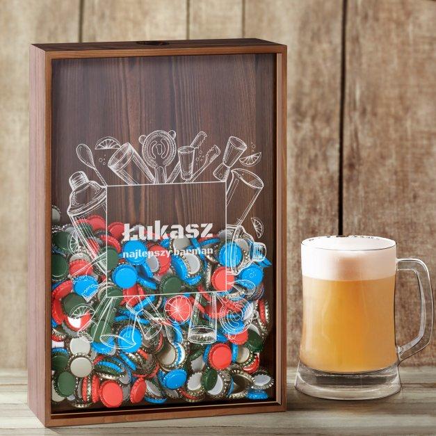 Kapslołap z nadrukiem skrzynka na kapsle dla barmana
