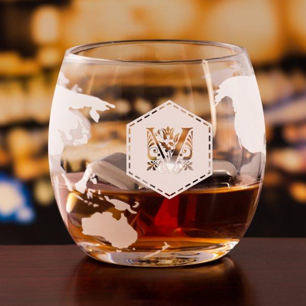 Zestaw do whisky karafka statek szklanki x4 grawer inicjał