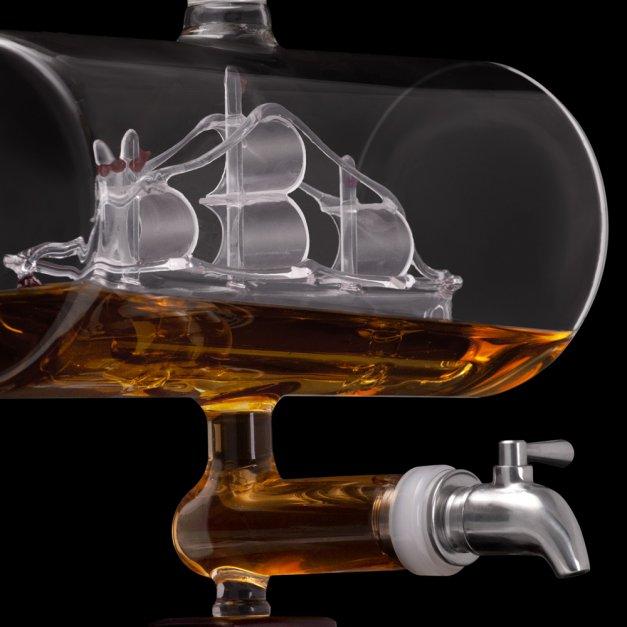 Zestaw do whisky karafka statek szklanki x4 grawer inicjały