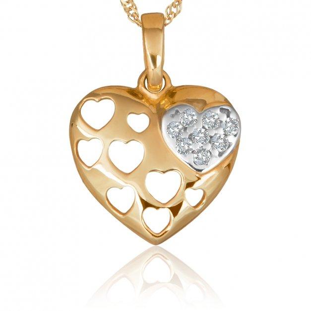 Złote Serce z Kryształkami 333 GRAWER ZZ84