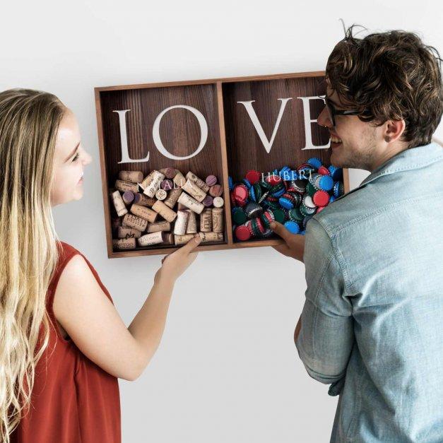 Korkołap z nadrukiem podwójny skrzynka na korki dla pary na rocznicę