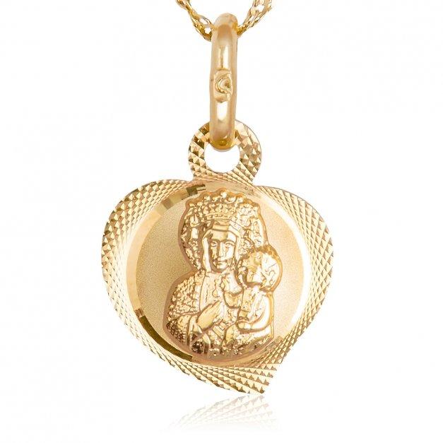 Złoty Medalik 585 Matka Boska Częstochowska z Łańcuszkiem Grawer