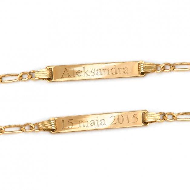 Złota Bransoletka 585 ID GRAWER