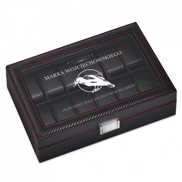 Karbonowa Szkatułka Kuferek na Zegarki GRAWER Biały Kruk