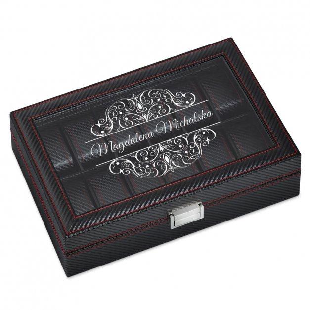 Karbonowa Szkatułka Kuferek na Zegarki GRAWER Elegance