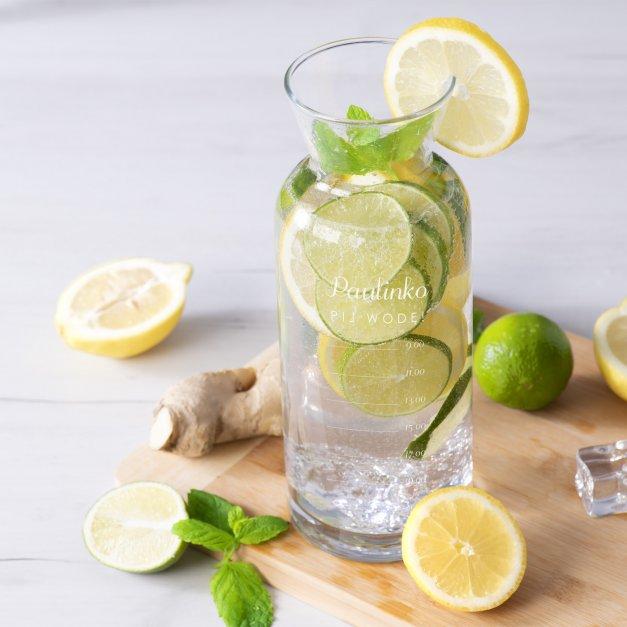 Karafka szklana na wodę grawer pij wodę dla niej
