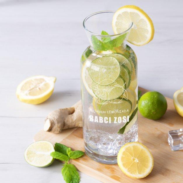Karafka szklana na lemoniadę grawer dla babci