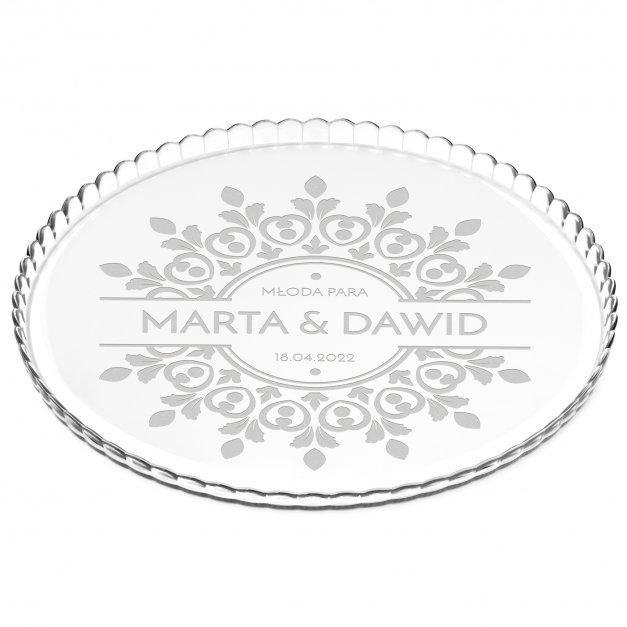 Patera szklana bez nóżki grawer dla pary na ślub