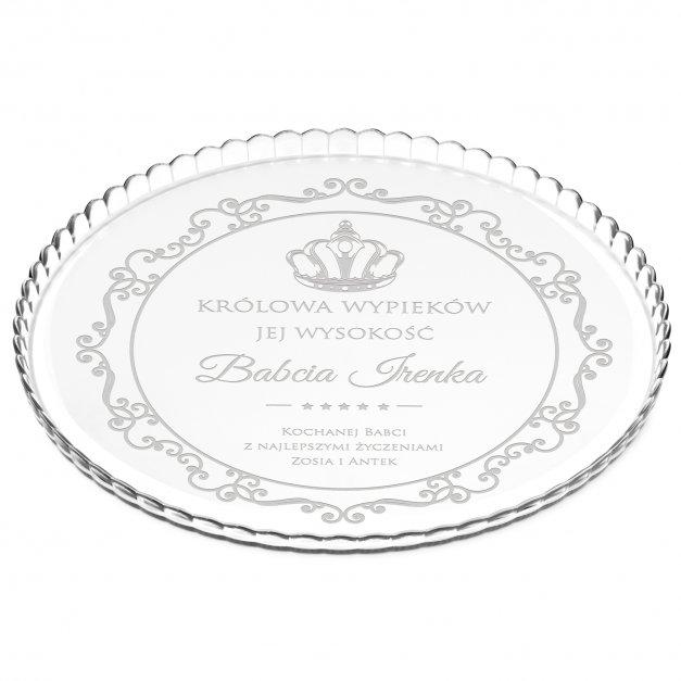 Patera szklana na ciasto bez nóżki grawer królowa wypieków dla babci