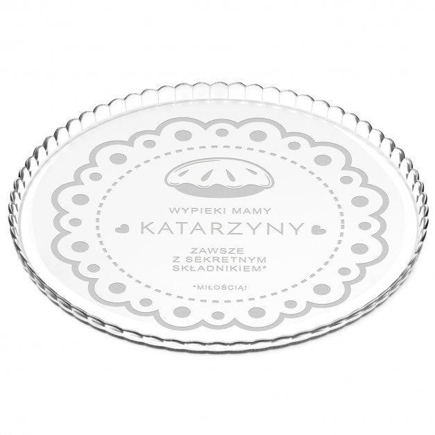 Patera szklana na ciasto bez nóżki grawer sekretny składnik miłość dla mamy