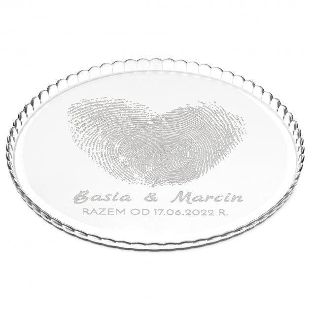 Patera szklana na ciasto bez nóżki grawer linie papilarne dla pary ślub rocznica