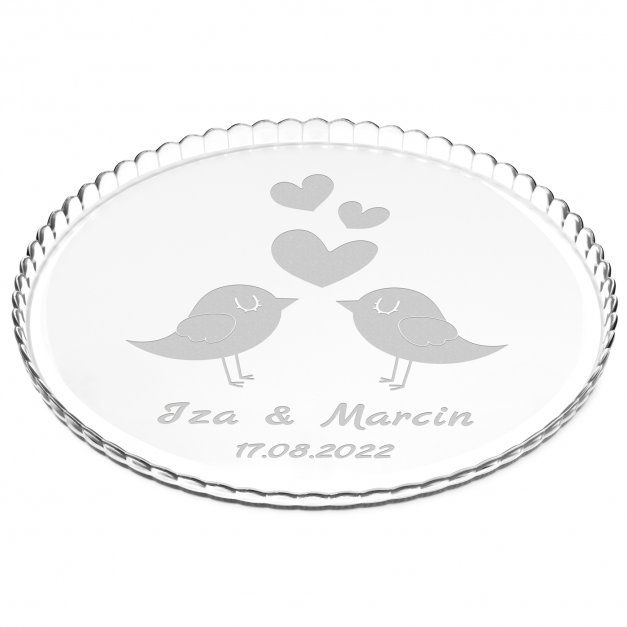 Patera szklana na ciasto bez nóżki grawer dla pary na ślub