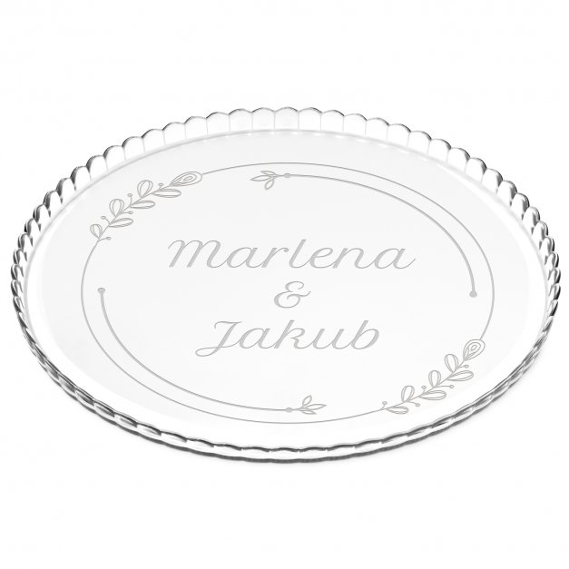 Patera szklana na ciasto bez nóżki grawer dla pary