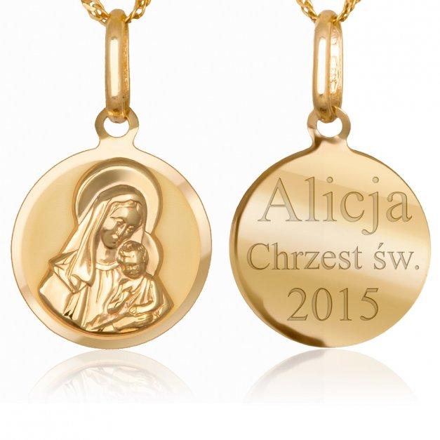 Złoty Medalik Matka Boska z Łańcuszkiem GRAWER ZZ117