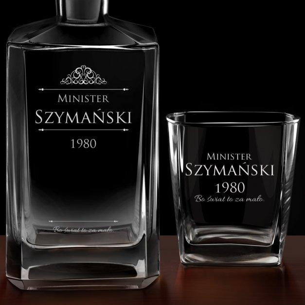 Karafka burbon 2 szklanki zestaw grawer minister dla niego