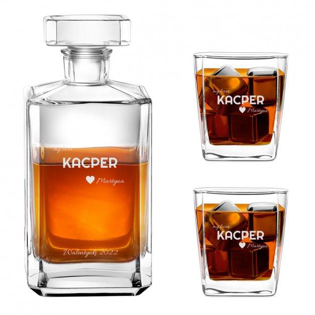 Karafka burbon 2 szklanki zestaw grawer dla niego na walentynki