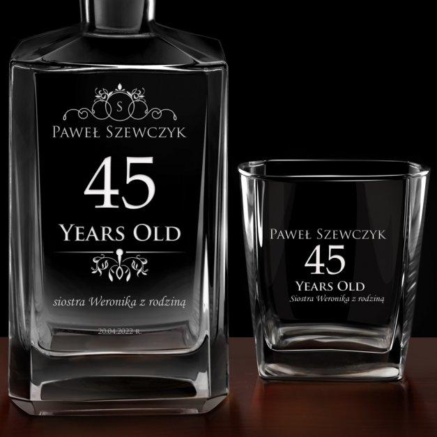 Karafka burbon 2 szklanki zestaw grawer dla brata na 45 urodziny