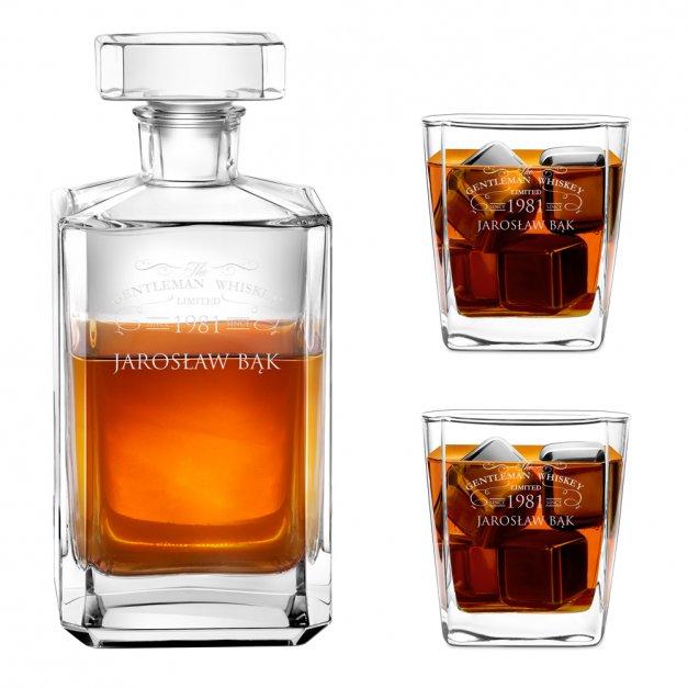 Karafka burbon 2 szklanki zestaw grawer dla gentlemana