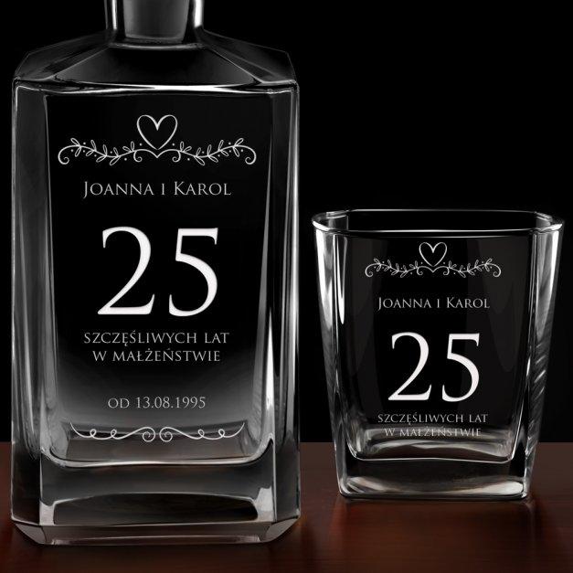 Karafka burbon 2 szklanki zestaw grawer dla pary na 25 rocznicę