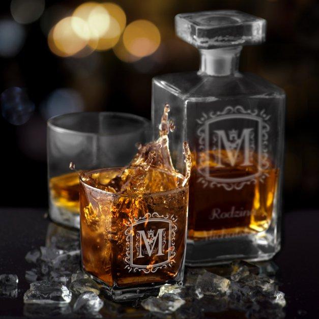 Karafka burbon 2 szklanki zestaw grawer nalewka dla babci