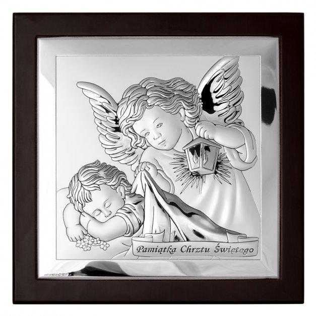 Obrazek Srebrny MARONE Anioł Stróż 19cm GRAWER