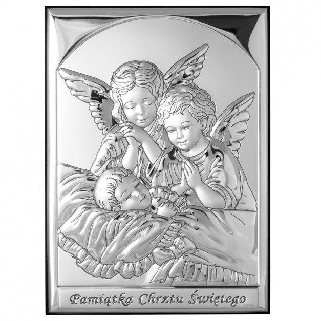 Obrazek Srebrny Aniołki 13cm GRAWER