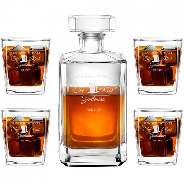 Karafka burbon 4 szklanki zestaw grawer dla gentlemana