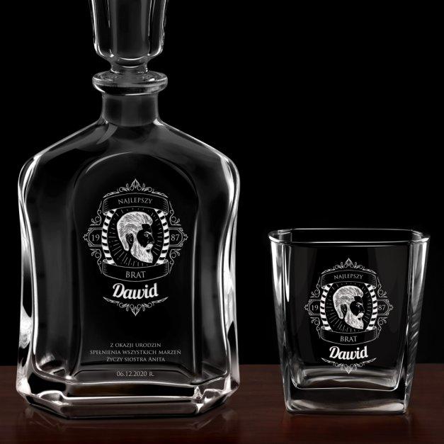 Karafka z 2 szklankami zestaw z grawerem da brata na urodziny