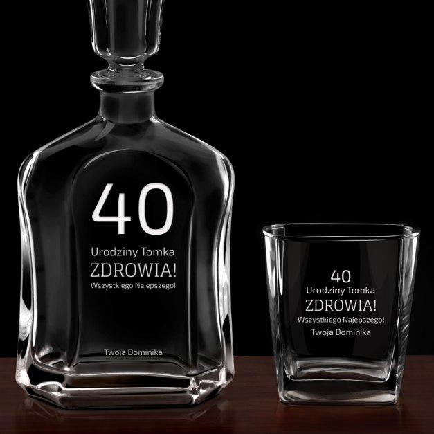 Karafka z 2 szklankami zestaw z grawerem dla niego na 40 urodziny