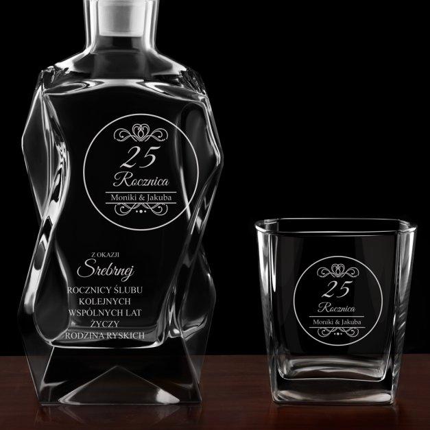 Zestaw karafka łamana z 4 szklankami grawer dla pary na 25 rocznicę